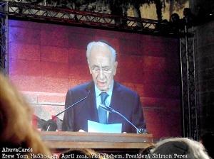 Yad Vashem Erew Jom HaShoa 27.4.2014 - Shimom Peres