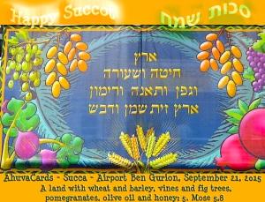Succot Chag Sameach 5. Mose 8.8: Ein Land, darin Weizen, Gerste, Weinstöcke, Feigenbäume und Granatäpfel sind; ein Land darin Ölbäume und Honig wachsen;